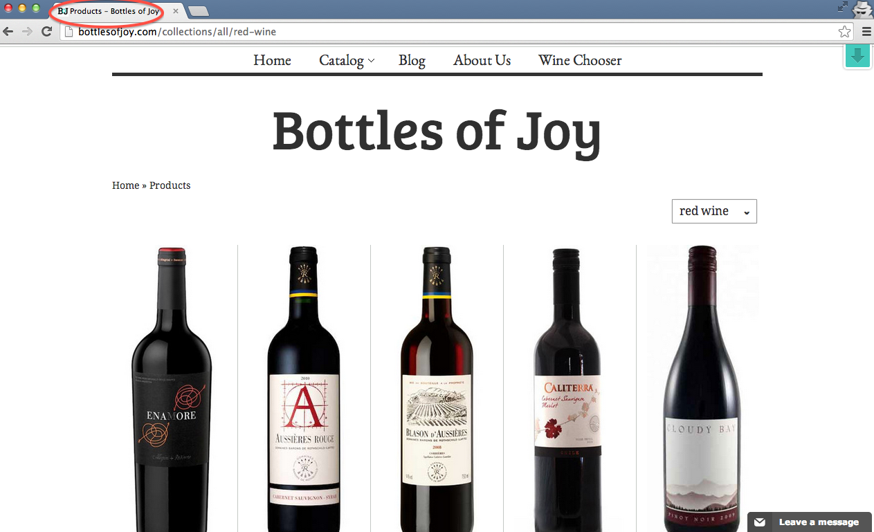 Bottles of Joy Shopify collection red wine tag