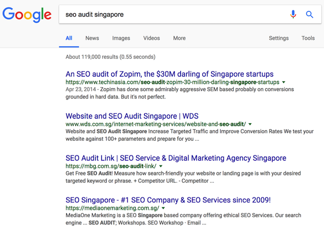 TechInAsia serp on google sg