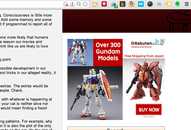 Display ad for Gundam
